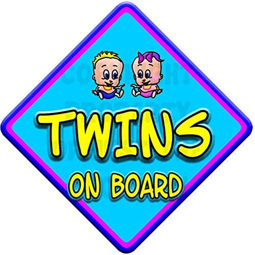 TOON BOY & GIRL TWINS Baby on Board Car Window Sign JTO