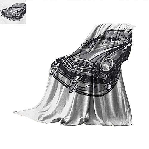 Cars Weave Pattern Blanket Hand Drawn Vintage Vehicle with Detailed Front Part Hood Lamps Rear View Mirror Summer Quilt Comforter 50