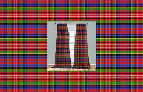 Ambesonne Plaid Curtains 2 Panel Set, Caledonia Scottish Traditional Pattern Tartan Motif Abstract Squares Ornate Quilt, Lightweight Window Treatment Living Room Bedroom Decor, 56