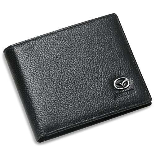 Mazda Bifold Wallet With 3 Credit Card Slots And Id Window   Genuine Leather