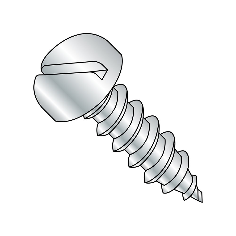 Zinc Plated Slotted Drive #6-20 Thread Size Pan Head Steel Sheet Metal Screw Pack of 100 1//4 Length Type AB