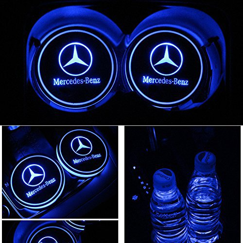 monochef Auto sport 2PCS LED Cup Holder Mat Pad Coaster with USB Rechargeable Interior Decoration Light (benz)