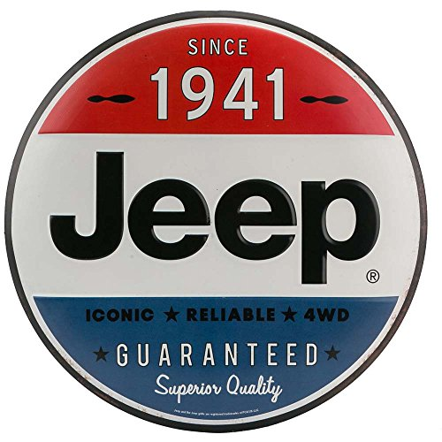 Open Road Brands Jeep Hollow Curved Embossed Tin Sign-Button