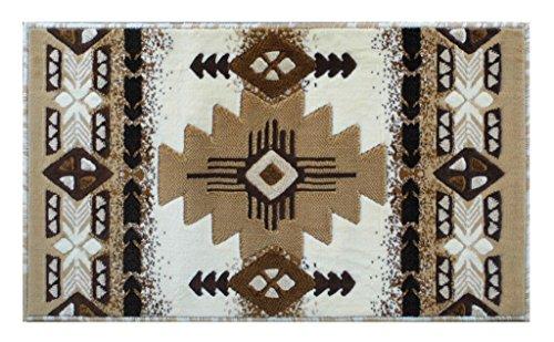 Floor Mat Light Cream (South West Native American Area Rug Design C318 Ivory (24 Inch X 40 Inch))