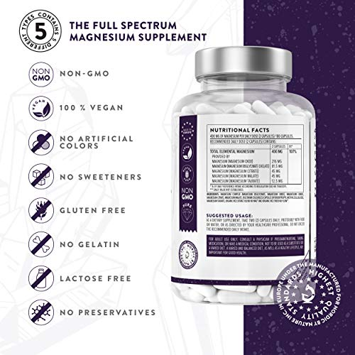Magnesium-Supplement-1561-mg-180-Capsules-with-Malate-Citrate-Chelated-Bisglycinate-Taurate-Oxide-High-Potency-Absorption-for-Energy-Muscles-Bones-Vegan-3rd-Party-Tested