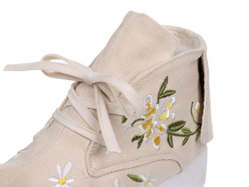 Avacostume Da Donna Ricamo Margherita Sneaker Stringata In Punta Di Piedi Beige