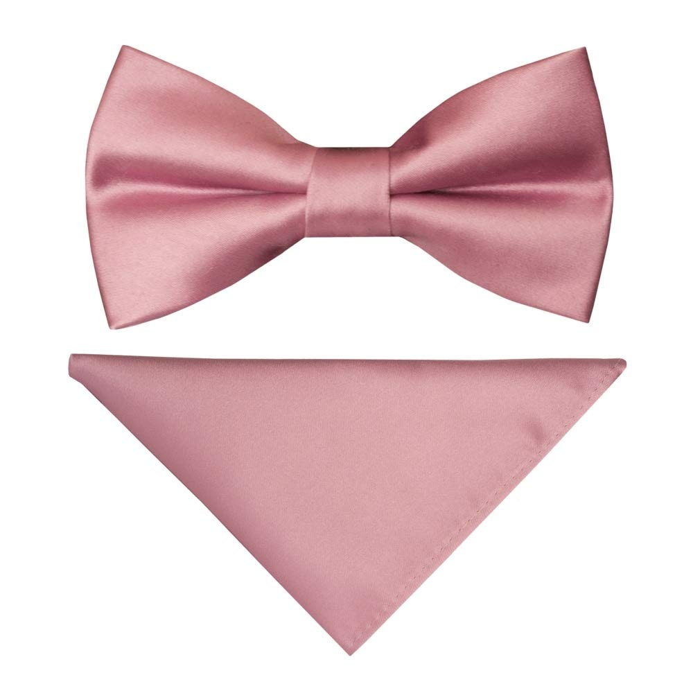 TIES R US Pre Tied Dusty Pink Satin Boys Bow Tie and Pocket Square Set
