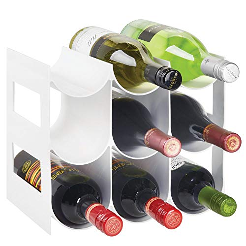(mDesign Plastic Free-Standing Water Bottle and Wine Rack Storage Organizer for Kitchen Countertops, Pantry, Fridge - BPA Free - 3 Tiers, Holds 9 Bottles - White)