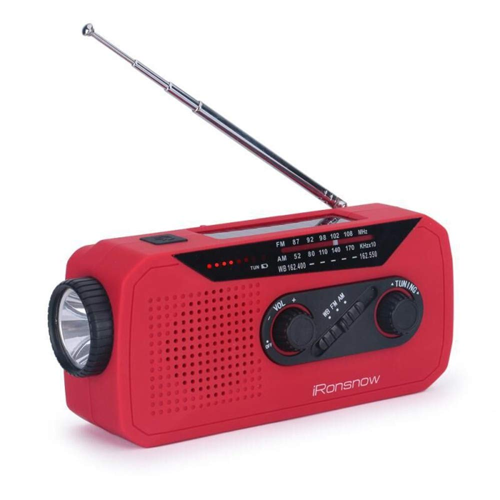 iRonsnow IS-366 Solar Emergency NOAA Weather Radio Hand Crank Windup WB/AM/FM Radios with Earphone Jack & Charge Indicator, 2000mAh Power Bank Phone Charger, Ultra Bright Flashlight for Camping (Red) by iRonsnow