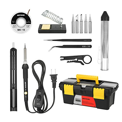 Meterk Soldering Iron Kit 60W, 14 in 1 Adjustable Temperature Welding Soldering Iron with ON/OFF Switch 5pcs Soldering Tips Solder Sucker Desoldering Wick Solder Wire Anti-static Tweezers Iron Stand