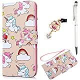 iPhone 7 Plus Wallet Case, iPhone 8 Plus Case, Premium PU Leather Magnetic Flip Cover Cute Lovely Running Unicorn Animal Soft TPU Slim Waterproof Bumper Card Slots Stand Holder Side Pocket ZSTVIVA