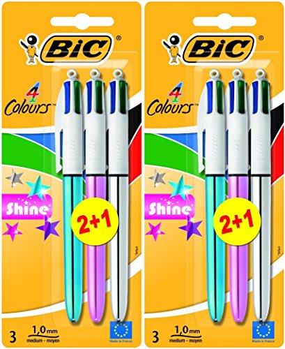Bic 4Colours Shine Medium Black, Blue, Red, Green 3Pc (S)-Ballpoint Pens (Black, Blue, Red, Green, Multicolour, Medium, Round, Metal, 1mm)