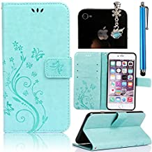Samsung S Duos S7562 (GT-S7562 / S7560M Galaxy Ace II X)/Samsung Galaxy S Duos / S Duos 2 (GT-S7562 / GT-S7582) Leather Case, [ Stand Function ] [ Card Holder ] Sunroyal Flip PU Leather Case Cover Flip Folio Wallet Case in Book Style TPU Inner Gel Case Soft Thin Silicone Back Bumper with Magnetic Closure 1x Metal Stylus Touch Pen + 1x 3.5mm Universal Butterfly Bow Bling Pendant Rhinestone Crystal Anti Dust Plug , Butterfly Pattern ,Green