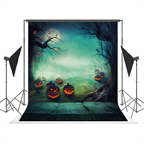5x7ft Halloween Photo Studio Background Props Fabric Cloth Collapsible Backdrop, Light Green Pumpkin Wood Background for Photography