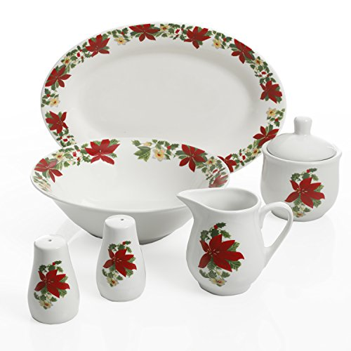 Gibson Home 99825.07R Poinsettia Holiday, 7 PC Serving Set, Red and White