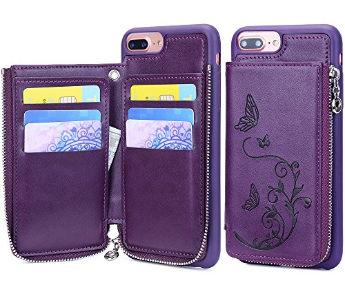 iPhone 7 Plus Zipper Wallet Case, iPhone 8 Plus Leather Case, WaterFox Flower Butterfly Pattern Credit Card Holder cases with Money Pocket, Cover for Apple iPhone 6 Plus/7 Plus/8 Plus (Purple Leather Cell Phone)