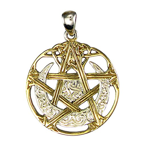 Sterling Silver 14k Gold Plated Cut Out Moon Pentacle Pentagram Pendant