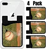 MSD Phone Card holder, sleeve/wallet for iPhone Samsung Android and all smartphones with removable microfiber screen cleaner Silicone card Caddy(4 Pack) Baseball on the outfield grass IMAGE 23750134