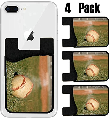 MSD Phone Card holder, sleeve/wallet for iPhone Samsung Android and all smartphones with removable microfiber screen cleaner Silicone card Caddy(4 Pack) Baseball on the outfield grass IMAGE 23750134 by MSD