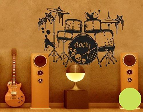Klebefieber Wandtattoo Schlagzeug B x x x H  100cm x 71cm Farbe  Schwarz B0713YW2YK Wandtattoos & Wandbilder af1d9c
