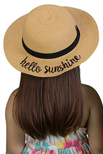 H-3017-HS06 Girls Embroidered Sun Hat - Hello Sunshine (Natural) -