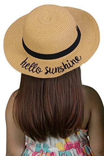 H-3017-HS06 Girls Embroidered Sun Hat - Hello Sunshine (Natural)