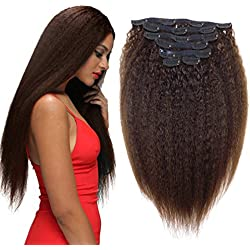 """clip in kinky curly human hair clip ins for african american Yaki Clip ins Human Virgin Hair Extensions 10""""-24"""" 7 Pcs (80g 10'', Brown)"""