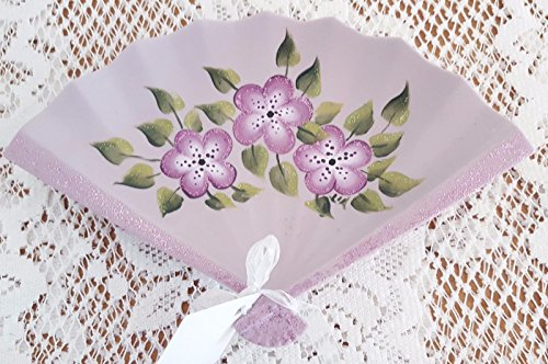 Gatton Jewelry Tray Dish Fan Hand Painted Porcelain Purple Flowers And Sparkles (Signed Hand Painted Porcelain)