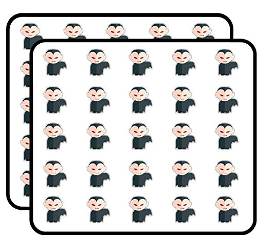 Dracula Kid Costume Cartoon Sticker for Scrapbooking, Calendars, Arts, Kids DIY Crafts, Album, Bullet Journals 50 Pack ()