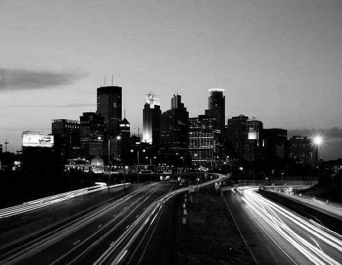 Photography Poster - Skyline at dusk Minneapolis Minnesota 24 X 19