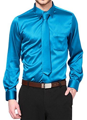 Daniel Ellissa Boy's Turquoise Satin Dress Shirt Set Prom Dance Party Costume (Youth 12)