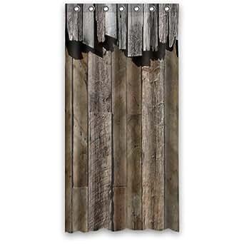 36 w x72 h inch waterproof bathroom rustic old barn wood shower curtain clothing. Black Bedroom Furniture Sets. Home Design Ideas