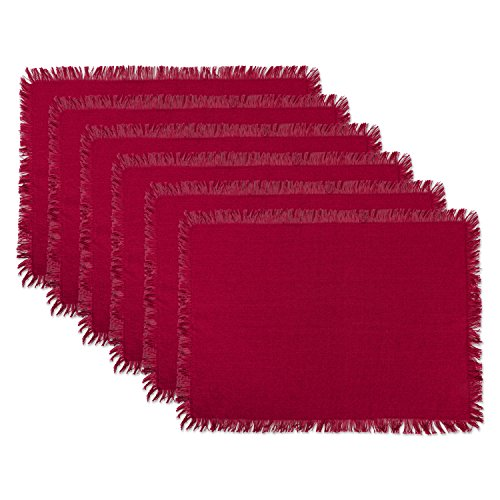 DII Washable Heavyweight Fringed Cotton Placemat, Set of 6, Wine Red - Perfect for Fall, Thanksgiving, Picnics and Everyday Use