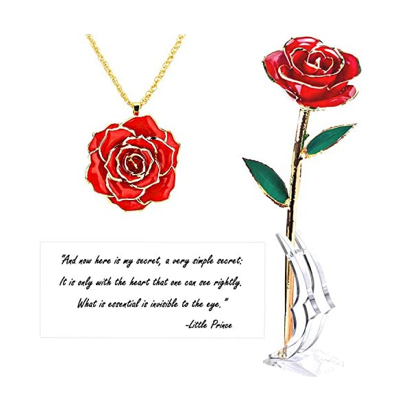 Real Rose 24K Gold Dipped with Necklace and Love Letter – Everlasting, Enchanting and Luxurious – for Her Mother's Day Anniversary Wedding and Proposal