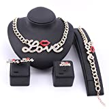 Hip Hop Fashion Style Luxury Rhinestone Lip Love Collar Necklace Earring Jewelry Sets (Jewelry Set)
