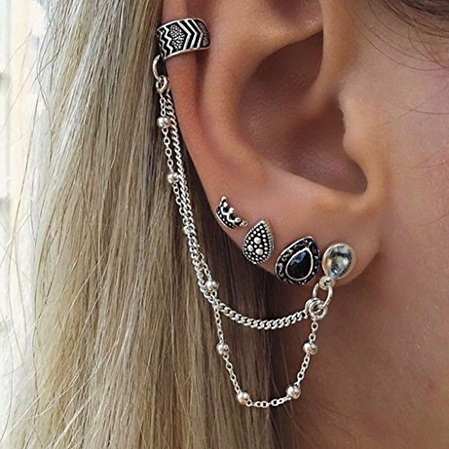 Sinwo Fashion Bohemia Women Retro Silver Ear Clip Stud Dangle Earrings Set Fashion Jewelry (Silver) Double Open Circle Dangles