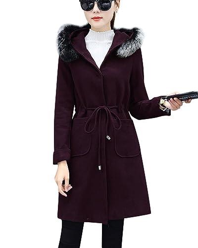 Mujer Faux Abrigos De Lana Cintura Chaqueta Con Capucha Invierno