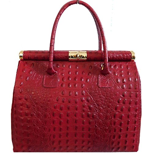 In Stampata Made Donna Cocco Vera Pelle Borsa Colore Italy Rosso qwBx5pnS