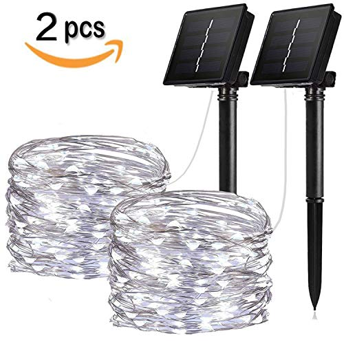 IOTOP Solar String Lights, 2 Pack 100 LED Solar Fairy Lights 33 ft Copper Wire Lights Waterproof Outdoor String Lights for Garden Patio Gate Yard Party Wedding Warm (Cool White 2-Pack) by IOTOP