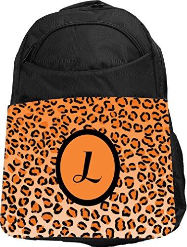"Rikki Knight UKBK Letter ""L"" Orange Leopard Print Monogra..."