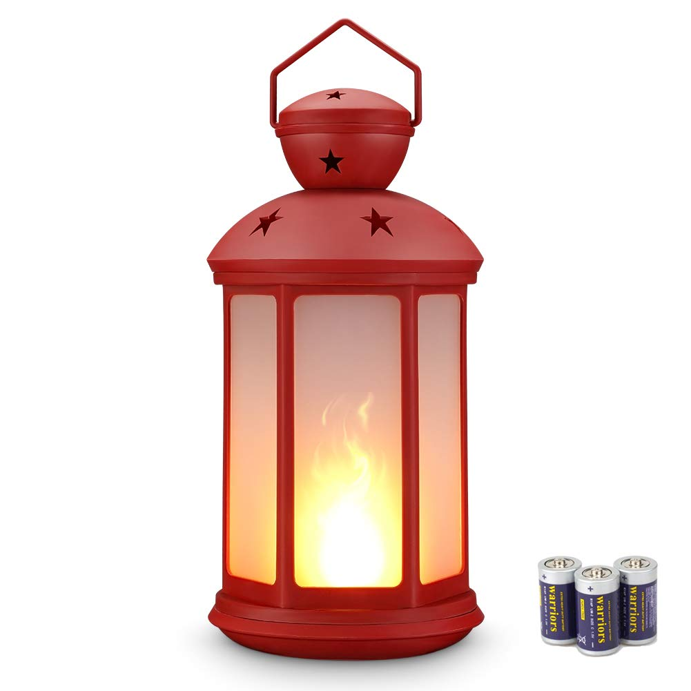 zkee 15'' Hexagon Flame Lantern Battery Operated (Batteries Included),Flickering Flame Effect Tabletop Lantern Indoor/Outdoor Hanging Lantern,Christmas Lantern,Decorative Lantern Red
