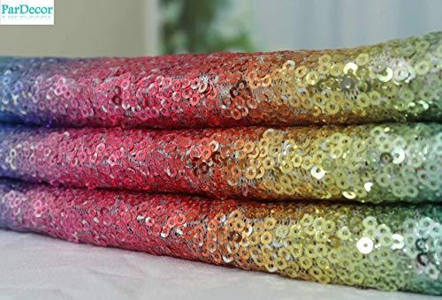- Sequin-Fabric-Rainbow Sequin Curtain Fabric by The Yard 3 Feet Glittery Tablecloth 1 Yard Wedding Backdrop Shower Curtain Sequin Net Fabric Multicolor ~ 0613C