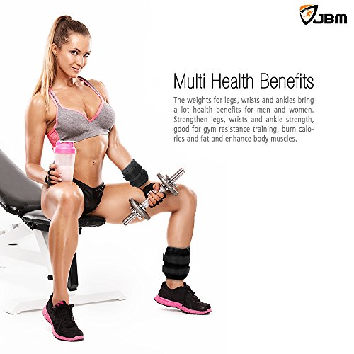 JBM Adjustable Ankle Weights Wrist Leg Weights Sand Filling 2.2lb 4.4lb 6.6lb 8.8lb 11lb 13.2lb 17.6lb 22lb (A Pair) Double Velcro Straps for Walking Jogging Gym Fitness Exercise Gymnastics Aerobics