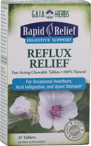 Gaia Herbs, Rapid Relief Digestive Support Reflux Relief Mint 45 Chewable Tablets (5-Pack)