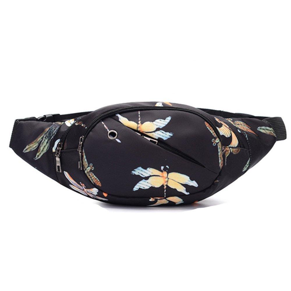 AZUNA Cute Fanny Pack Fashionable Waist Bag for Women Girls Beach Boho Festival Belt Purse (Black Dragonfly)