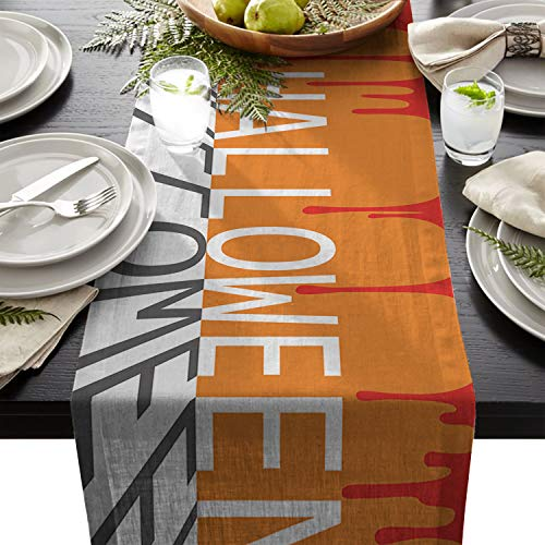 Yun Nist Table Runner Dresser Scarf Cotton Linen Fabric Tablecloth, Orange Halloween Red Blood Tablecovers for Home Kitchen Wedding Party Dining Room -
