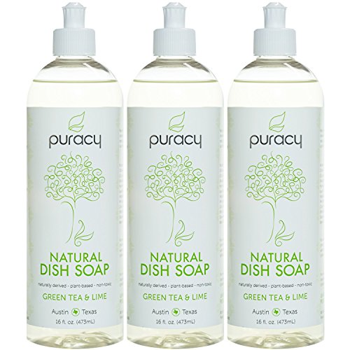 Puracy Natural Liquid Dish Soap (3-Pack), Sulfate-Free Dishwashing Detergent, Green Tea & Lime, 16 Ounce