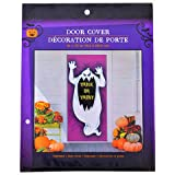 Creepy Halloween Haunted House Spooky Ghost Door Cover (30'' x 72'') with Bonus Ghost Window Cover (14'' x 14'') Decor