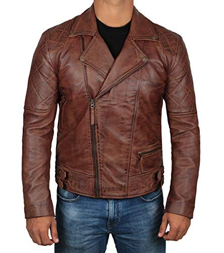 Frisco Brown Leather Jacket Men - Asymmetrical Distressed Genuine Lambskin Motorcycle Jackets Mens | L … ()