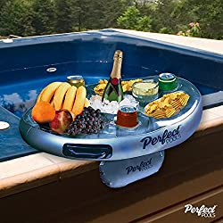 Official 'Perfect Pools' Spa Bar Inflatable Hot Tub Side Tray for Drinks and Snacks - Perfect for Pool Parties!
